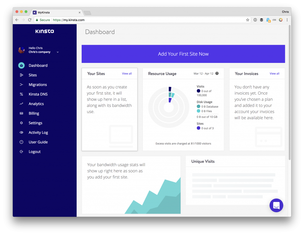 Kinsta Dashboard Next Day Online